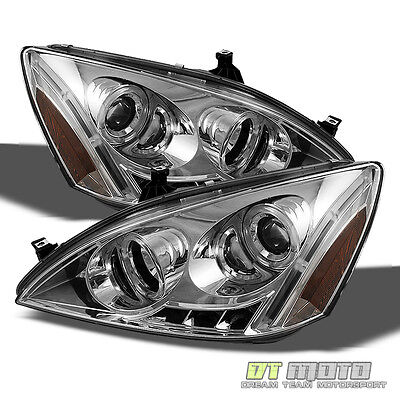 03-07 HONDA ACCORD DUAL HALO PROJECTOR LED HEADLIGHTS LIGHTS LAMPS LEFT+RIGHT