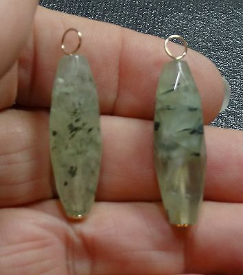 Unusual XLG Genuine African Prehnite INTERCHANGEABLE Earring Charms YG or SS