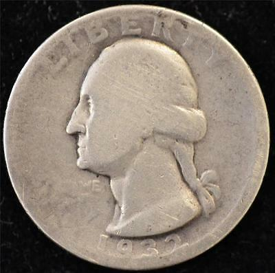 1932-S Circulated Silver Washington Quarter - KEY DATE!