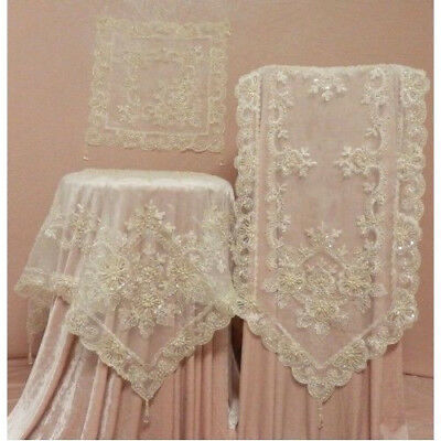 Victoriana Style Stunning & Elegant Cream Ivory Lace Sequin Embroidered Doilie