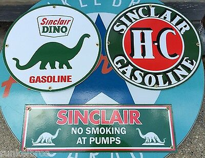 SINCLAIR DINO GAS STATION SIGN SET - PORCELAIN COATED METAL SIGNS - set of 3