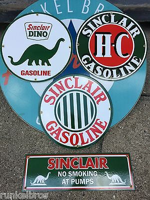 SINCLAIR DINO GAS STATION SIGN SET - PORCELAIN COATED METAL SIGNS - set of 4