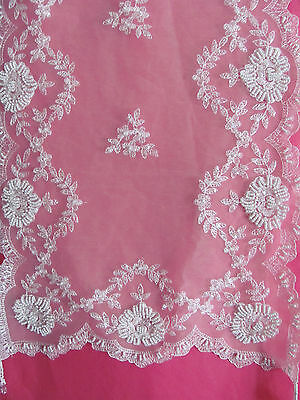 Stunning Elegant White Lace Sequin & Beaded Embroidered Table Runner-90cm -7307