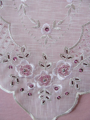 Elegant Cream & Pink Sequin & Hand Beaded  Embroidered Table Runner - 110cm
