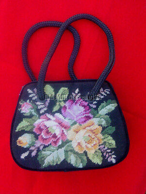 Velvet evening bag with wool needlepoint on one side Victorian vintage style