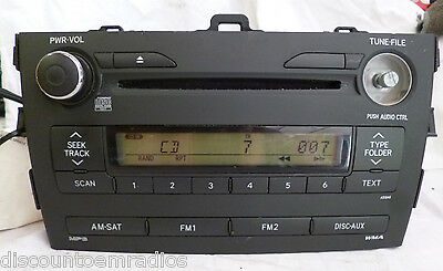09 10 Toyota Corolla Radio Cd MP3 Player A518A0 86120-02A90 Factory OEM