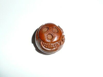"Awesome Skull Round Hand Carved Boxwood Shank Button - Approx. 1"" diameter"