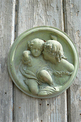 Lovely Terracotta Antique Style Child Companions Wall Plaque Friend Plaque C21