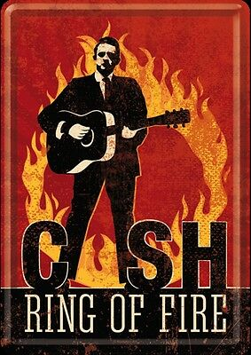 "Johnny Cash ""Ring Of Fire"" metal postcard / mini-sign   (na)"