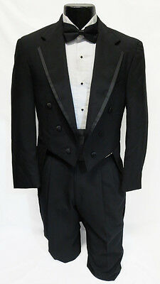 41S Mens Black Notch Lapel Tuxedo Tailcoat Theater Debutante Mason Formal Tails