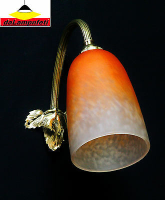 Schneider Lamp French Art Deco Sconce Wall Lamp Pate De Verre Bronze Signed