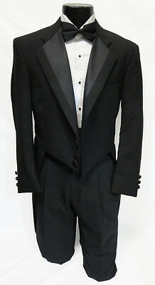 42S Mens Black 100% Wool 2 Button Notch Tuxedo Tailcoat Theater Costume Dickens