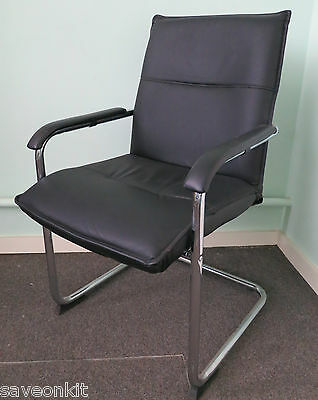6 x Sorrento Armed Chrome Framed Leatherette Office Chair Black CH0235