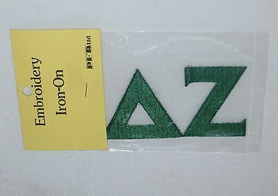 DELTA ZETA SORORITY PATCH Green Greek Letters Embroidery Iron-On  NEW