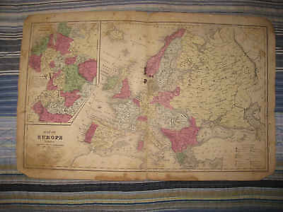 Antique 1844 Europe Handcolored Map Russia Turkey Austria Germany Italy France N