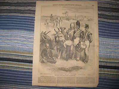 Antique 1857 Madras British India Army Military Soldier Print Gernadiers Nr