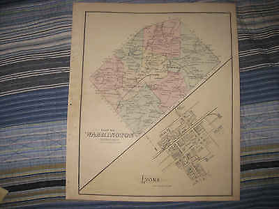 ANTIQUE 1876 WASHINGTON TOWNSHIP LYONS BERKS COUNTY PENNSYLVANIA MAP READING NR
