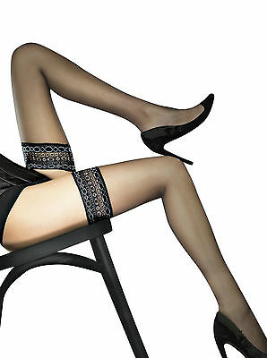 Fiore Obsession Volta 20 Denier Lace Top Hold Ups Sheer - Black or Red 1 pair