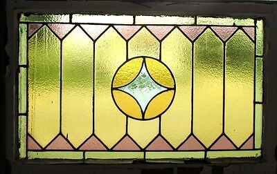 ~ ANTIQUE AMERICAN STAINED GLASS WINDOW 34 x 22.75 2of2 ARCHITECTURAL SALVAGE ~