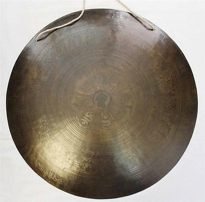 """F617 Huge Artistic Hand Crafted Himalayan Tibetan Temple Gong 20.75"""""""