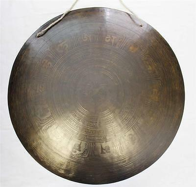 """F618 Huge Artistic Hand Crafted Himalayan Tibetan Temple Gong 21.75"""""""