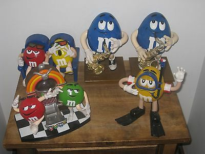 M&m Candy Dispenser Collection Lot Of 5  Blue Jazz Player Jukebox Theather Etc