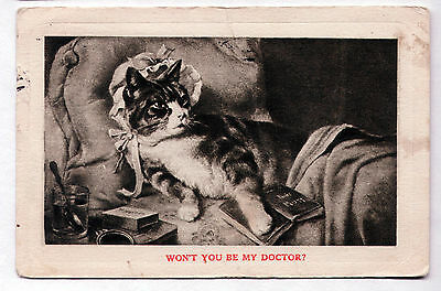 """Vintage 1913 postcard Dressed Invalid Cat """"WILL YOU BE MY DOCTOR?"""""""