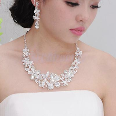 Bridal Bridesmaid Wedding Party Jewelry Set Crystal Rhinestone Necklace Earrings