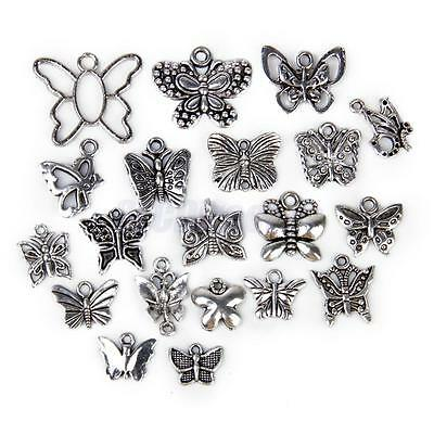 20 Antique Tibetan Silver Assorted Butterfly Charm Pendants DIY Jewelry Findings