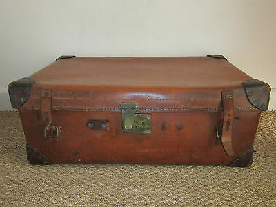 Large Vintage Chestnut Brown Leather Trunk 31 x 18 x 12 inches/78 x 46 x 30 cms
