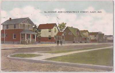 """Gary, Indiana Postcard """"7th Avenue & Connecticut Street"""" Residential w/ Houses"""