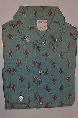 VINTAGE NEW 1950s BOY'S LONG SLEEVE SHIRT! UNICORN DESIGN! BUTTON DOWN COLLAR! 2