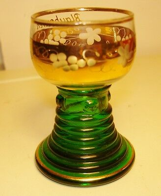 Green Ribbed Stem GERMANY Liqueur/Shot Glass-Gilded Etched/--Frosted Grapes