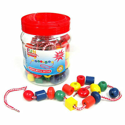 NEW Fun Factory Wooden Lacing Beads in Jar 90pcs Educational Toy Free Postage
