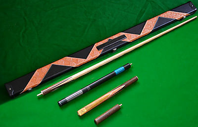 3/4 Handmade Ash Snooker/pool Cue Set With Case Extension