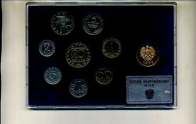 1986 AUSTRIA 9 COIN GOVERNMENT PROOF SET