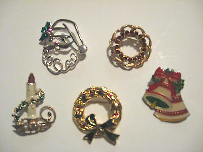 Assortment Of 5  Christmas Pins