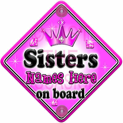 NEW ~ GEM JEWEL ~ SISTERS ~ Personalised Baby on Board Car Window Sign