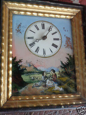 ANTIQUE 19th CENTURY HAND PAINTED FIGURES REVERSE PAINTING WALL CLOCK MID 1800s