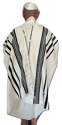 "Kosher Tallit Talis Prayer Shawl 100% Wool 43X63""/110x160cm israel Black stripes"
