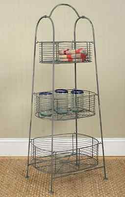 primitive 3 basket metal standing storage rack / nice storage display rack