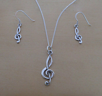 925 Sterling Silver Treble Clef Musical Note Earrings & Pendant Set & Curb Chain
