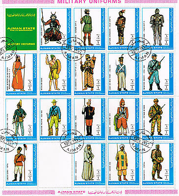Ajman Military Uniforms Soldiers stamps in sheet with error 1972