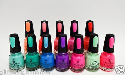 China Glaze Nail Polish Sunsational Summer Neon Jellies Creme Assorted Colors