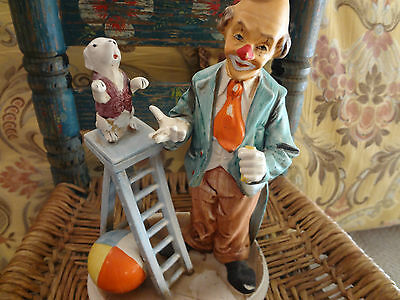 """Clown with performing dog - 8"""" - by Norleans - And a beach ball!"""