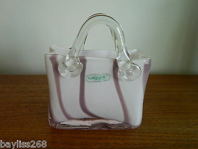 Stunning Art Glass Vicenza Handbag Pink Decorative Vase Collectable