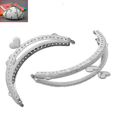 5PCs Metal Frame Kiss Clasp Arch For Purse Silver Tone Heart Pattern