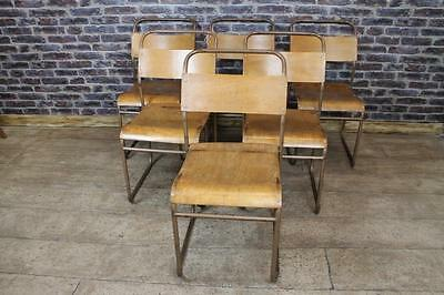 Vintage Industrial School Chairs Retro Stacking Chairs Large Quantity Available