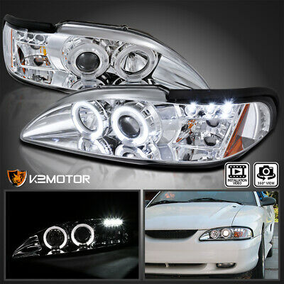 1994-1998 Ford Mustang Halo LED Projector Headlights Chrome Pair