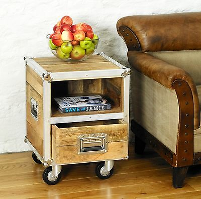 Alberta modern chic reclaimed wood furniture side end lamp bedside table cabinet